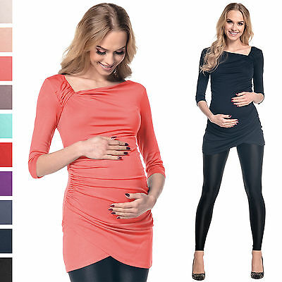 Happy Mama. Women's Maternity Long Sleeve Stretch Jersey Drape Tunic Top. 995p