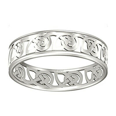 Ladies 0.925 Sterling Silver  Irish Celtic Love Knot Ring with Synthetic Emerald