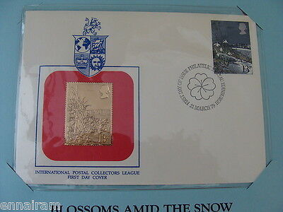 England  FDC Snowdrop w/ 23 kt gold replica stamp 1979  Blossoms Amid the Snow
