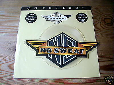 """NO SWEAT ON THE EDGE LAST NEW // PERFECT LOGO SHAPED PICTURE DISC 7"""" SINGLE MINT"""