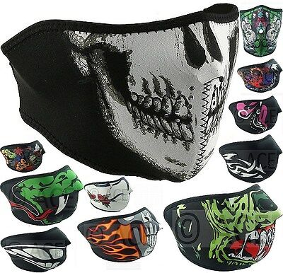 Unisex Neoprene HALF Face Reversible Biker Skateboard Motor Bike Sports Mask
