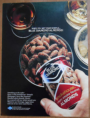 1982 original food AD When you wet your whistle...Blue Diamonds Almonds!