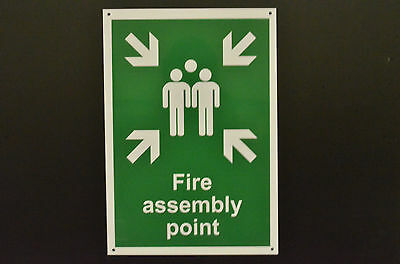 Fire Assembly Point Sign Waterproof 3mm Metal Dibond Aluminium Choice Of Sizes