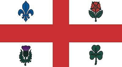 MONTREAL 5 X 3 FEET FLAG polyester flags Quebec CANADA CANADIAN