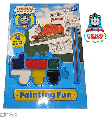 THOMAS The Tank Engine & Friends Painting Fun Pack 4 Sheets 1 Brush 6 Paints