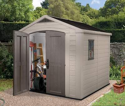 Keter Factor 8 x 8 Plastic Garden Shed/Garage Next Day Delivery! 10 Yr Guarantee