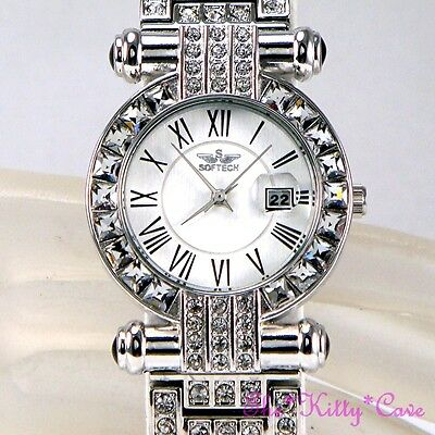 Silver Bling Ladies Classic Date Display Feature Dress Watch w Swarovski Crystal