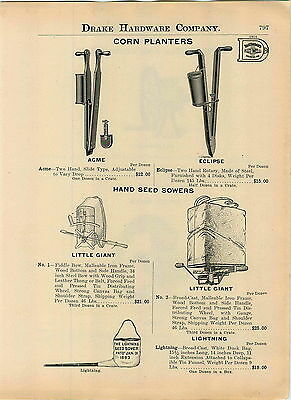 1914 AD Two 2 Hand Acme Eclipse Corn Planters Little Giant Seeder Lightning