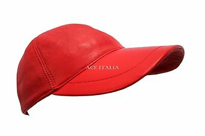 BASEBALL Strawberry Red Ladies Real Soft Nappa Leather Hip-Hop Cap Hat