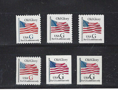 """US Scott # 2881, 2883, 2884, 2885, 2886,& 2887 """"G"""" rate MNH Booklet Singles"""