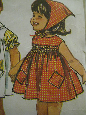Vintage Simplicity 5948 SMOCKED COLLARLESS DRESS Sewing Pattern Child Girl Sz 4