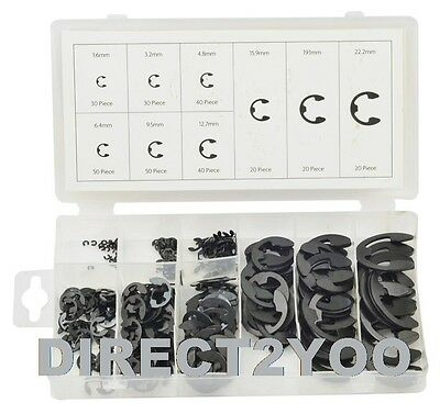 Toolzone 300pc E Clips Circlips Snap E-Clip 1.6mm to 22.2mm Assorted + Case