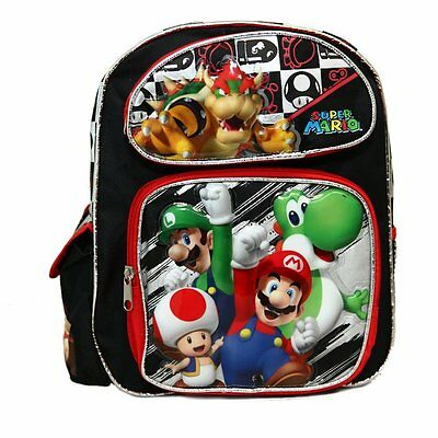 """Super Mario 3D Brother Team 12/"""" Small  Backpack Kid Boys Licensed w//Umbrella"""