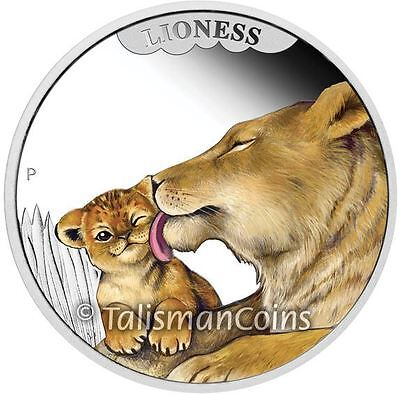 Tuvalu Perth 2014 Mother's Love #1 Lioness + Lion Cub 50 Cents Pure Silver Proof