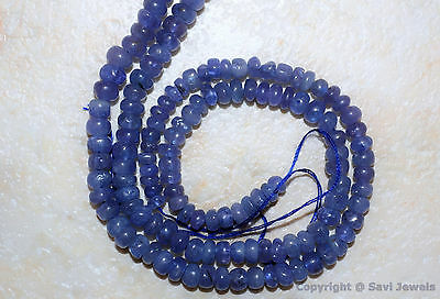 "TANZANITE 3-4mm diameter PLAIN Rondelle Gemstone Beads 6"" Strand 22Ctw >50 beads"
