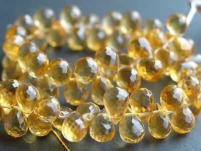 "HAND FACETED CITRINE BRIOLETTES, approx 4.5mm x 6.5mm beads, 6"", 60+ beads"