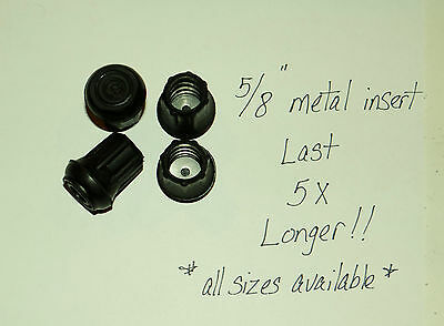 "(4) 5/8"" Heavy Rubber Cane Tips, Crutches, Walkers / Metal Insert Last 5X Longer"