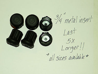 "(6) 3/4"" Heavy Rubber Cane Tips, Crutches, Walkers/ Metal Insert Last 5X Longer"