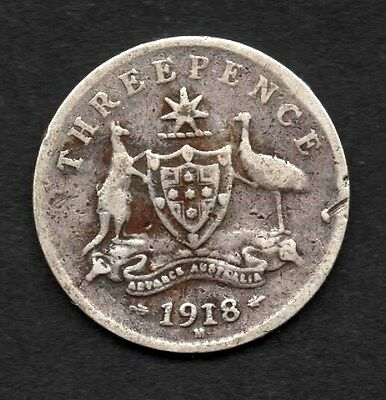 1918 AUSTRALIAN THREEPENCE (3d) - *** AVERAGE USED CONDITION ***