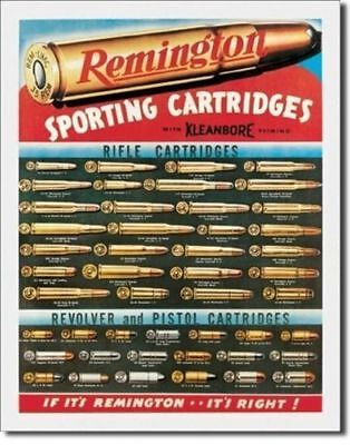 Big 40x31 cm REMINGTON CARTRIDGES Pub Retro Garage Tin Metal Sign Man Cave Bar