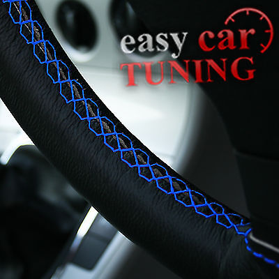 For Vw Lupo 98-05 Black Real Genuine Leather Glove Steering Wheel Cover Blue St