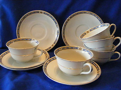 5 Grindley Cups & Saucers Blue Gold Boarder Made in England  Vintage