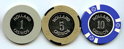 Set of 3 Obsolete Holland Casino Chips