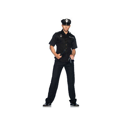 Mens Police Officer Costume Cop Fancy Dress Party Halloween Uniform Outfit New