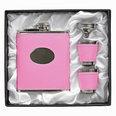 Personalised Engraved Pink Ladies Hip Flask Gift Set 2 Cups Funnel Boxed Leather