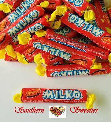 ALLENS MILKO STICKS 800g  RED YELLOW BLUE LOLLIES CANDY CHEWS KIDS PARTY 64ct