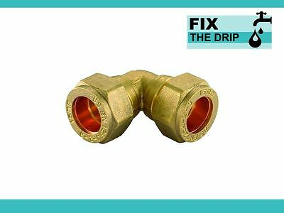 TRADE PACK 10 x FtD 15mm BRASS Compression Elbow fitting