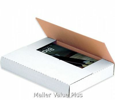 50 - 9 1/2 x 6 1/2 x 2 White Multi Depth Bookfold Mailer Book Box Bookfolds