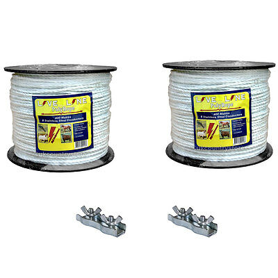 2 x 400m White Electric Fencing Rope with 2 Connectors