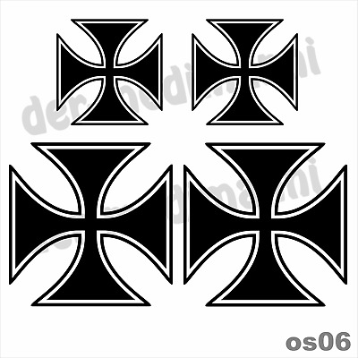 Aufkleber Iron Cross - SET os06 - Eisernes Kreuz OldSchool Chopper Bike PKW