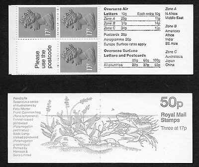 GB 1986 50p folded booklet SGFB33 , booklet pane X909L mint stamps