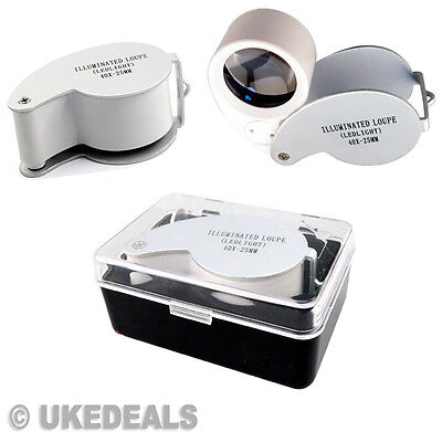 Magnifier Jewelers Pocket Size Eye Glass Lens 40x25mm Magnifying Loupe With LED