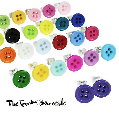 TFB - BUTTON STUD EARRINGS 9mm Cute Sweet Vintage Sew Retro Cool Quirky Funky