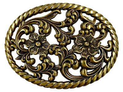 Womens Engraved Floral Cutout Antique Brass Western Decorative Belt Buckle