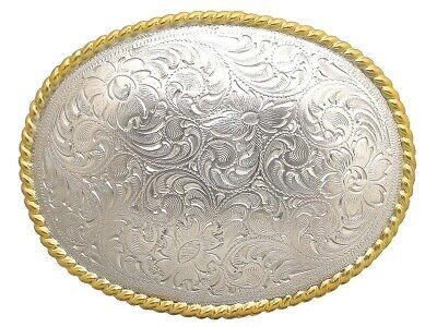 Western Cowboy Cowgirl Oval Rope Gold And Silver Plated Trophy Belt Buckle