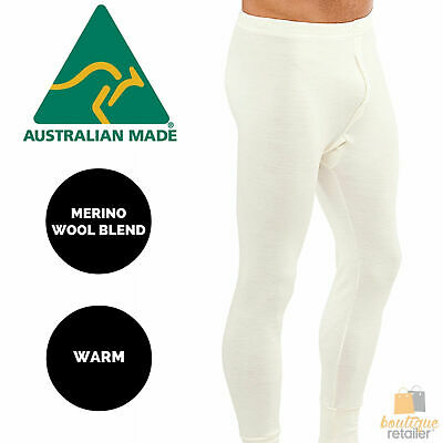Mens THERMAL Long Johns Trouser Pants Merino Wool Blend AUS MADE Thermals New