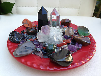 PROTECTION CRYSTAL HOUSE KIT *Petite* with Apophyllite Cluster, Obsidian Point++