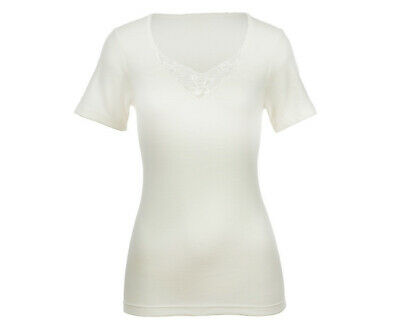 Ladies THERMAL Underwear Short Sleeve Top V-Neck WOMENS Lace Wool Thermals New