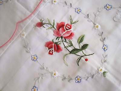 Pair of Vintage Style Shabby Rose Embroidery Pillowcase B