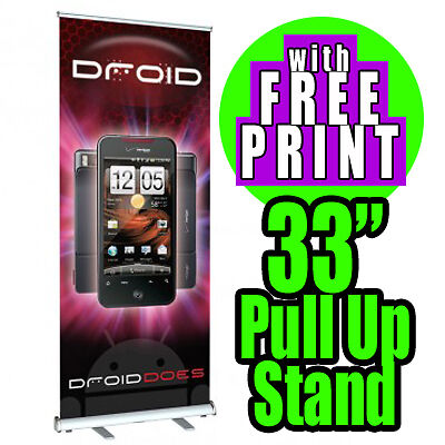 """Aluminum 33"""" x 80"""" Retractable Roll Up Banner Stand Trade Show Signage Display"""