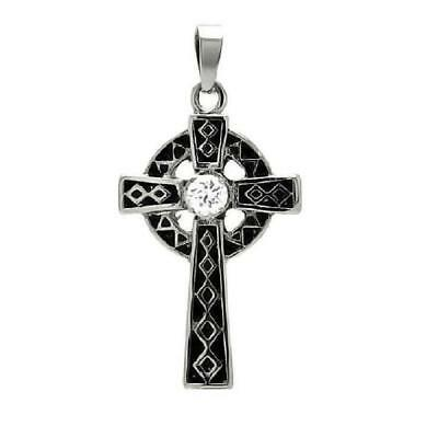 Stainless Steel Two Tone Celtic Cross CZ Stone Pendant, Free Bead Ball Chain