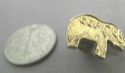 Mini Gop Gold Tone Elephant Pin Gop On Back Tac Pin