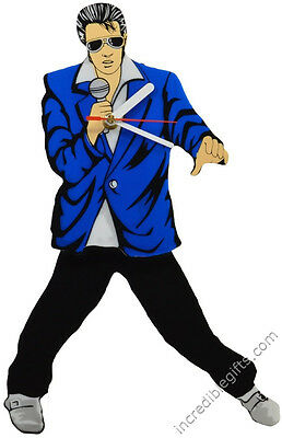 Elvis Presley Pendulum Blue Suit Wall Clock Swinging Legs and Hips