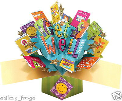 """*new* Greeting Card """"get Well Soon"""" Mini Cards Design 3D Pop Up Card"""