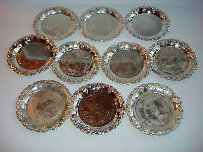 VINTAGE MAURICE DUNCHIN 1983 10 SILVER PLATED COASTERS