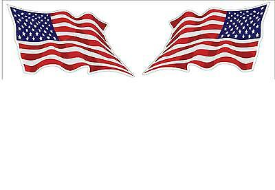 USA American Wavy Flag 1 Pair Decal Stickers LH and RH 3x5 American Pride
